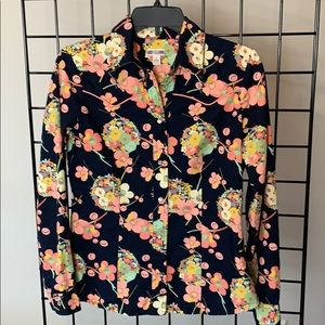 GAP Western, Pearl Snap Navy Floral Fitted Shirt